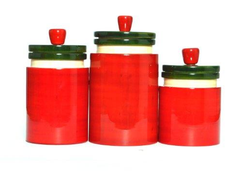 Earthita Kitchen Type -2 Storage Big Jars, Red With Green Lid