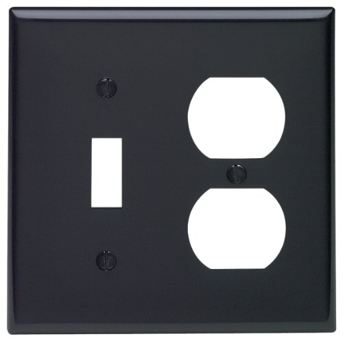 Leviton 80705-E 2-Gang 1-Toggle 1-Duplex Device Combination Wallplate, Standard Size, Thermoplastic Nylon, Device Mount, Black