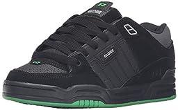 Globe Men\'s Fusion Skate Shoe, Black/Black/Green, 11 M US