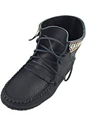 Laurentian Chief Men's Fringe and Braid Apache Moccasin Boots Black