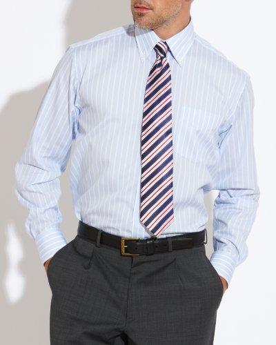 Savile Row Men's Light Blue White Stripe Buttondown Collar Classic Fit Formal Shirt Neck Size 15