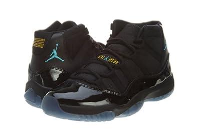 Nike Mens Air Jordan 11 Retro Black/Gamma Blue Leather Basketball Shoes Size 7.5