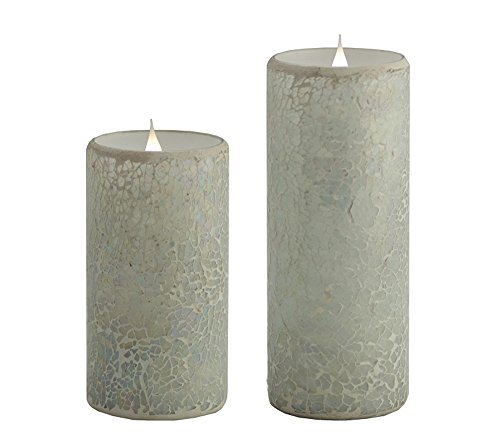 Solare 3D Virtual Flame Candles Set of 2 With Color-Hue Technology Crackled Mosaic