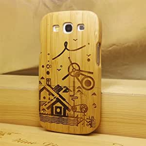 Euroge Tech 100% Real Bamboo Case for Samsung Galaxy S3 SIII i9300 Houses