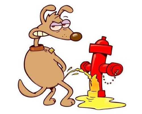 "Dog Urinating on a Fire Post - 24""W x 19""H - Peel and Stick Wall Decal by Wallmonkeys"