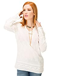 KASHANA Cotton White Embroidered Full Sleeve Summer Casual Top For Girls Ladies Womens