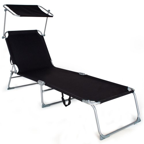 TecTake-Gartenliege-Sonnenliege-Strandliege-Freizeitliege-mit-Sonnendach-190cm-schwarz