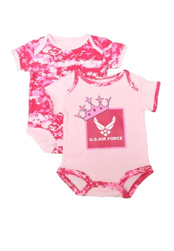 2-Pk Us Air Force Pink Camo Baby Outfits Princess Crown Cute (0-3 Mo) front-1003977