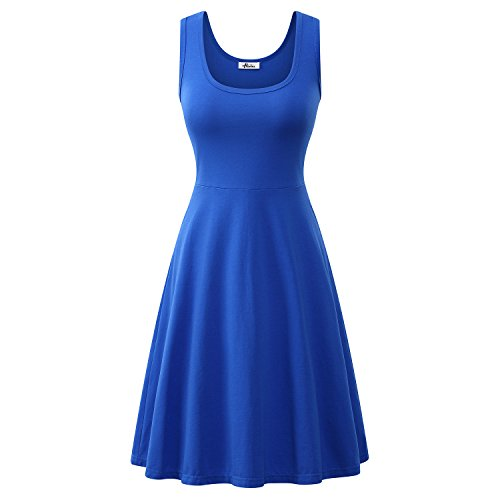 Herou Women Summer Beach Casual Flared Midi Tank Dress Medium Blue