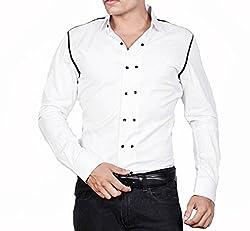 Dazzio Men's Slim Fit Cotton Casual Shirt (DZSH0008_White_42)