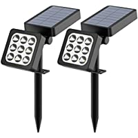 2-Pack Aptoyu 2-in-1 Waterproof Outdoor Landscape 9-LED Solar Spotlights