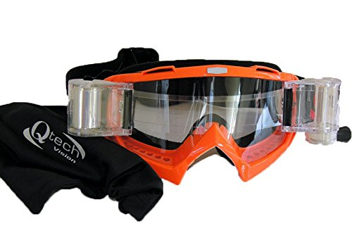 Roll Off GOGGLES Motocross in KTM ORANGE for MX Helmet