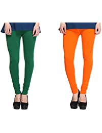 Leggings Free Size Cotton Lycra Churidar Leggings - Pack Of 2 Of Bottle Green & Light Orange Colour By SMEXY
