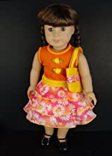 Orange Floral Summer Dress with Purse Designed for 18 Inch Doll Like the American Girl Dolls Shoes Sold Seperately