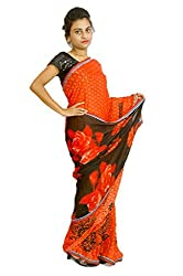 Aradhya Women's Red Printed Crepe Saree with Blouse Piece