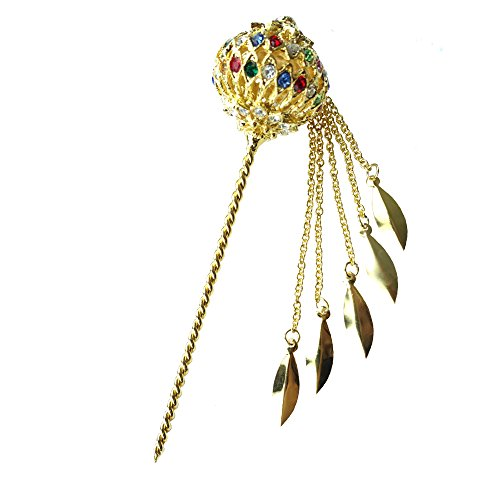 [Siwalai Thai Traditional Gold Plated Multicolor Crystals Hair Pin 5 Inches] (Thai Dance Costume)