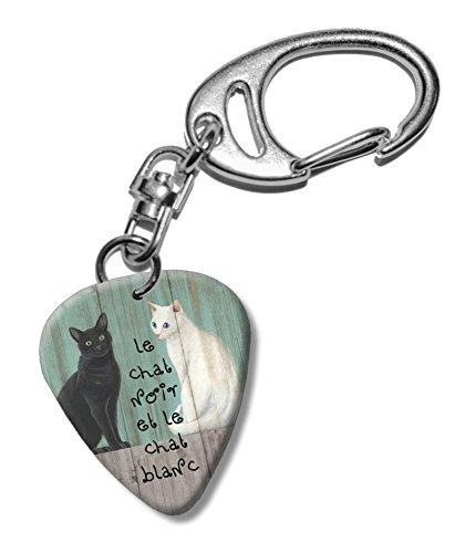 le-chat-noir-black-white-cats-martin-wiscombe-guitare-mediator-pick-porte-cles-vintage-retro