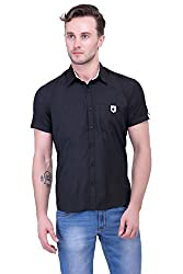 Trendster Black Solid Half Sleeve Casual New Men's Shirt