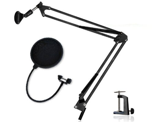 Uncluttered expression tabletop microphone stand + blocker rocker set adjustable black