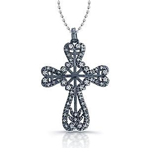 14k Gold with Black Rhodium Diamond Vintage Cross Pendant (1/4cttw, IJ, I1-I2)