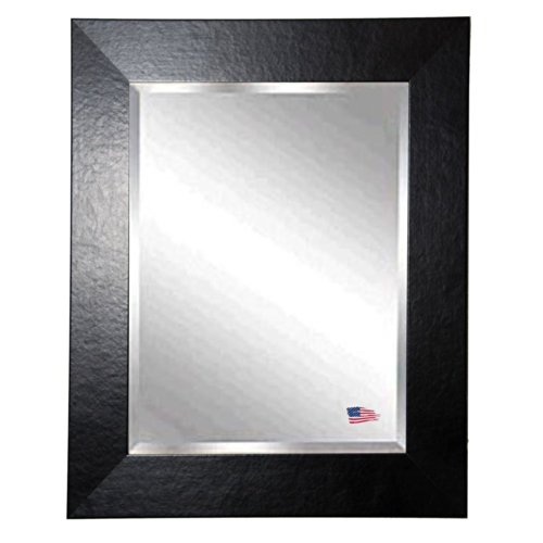 American Made Rayne Black Wide Leather Beveled Wall Mirror, 28 X 32 front-266011