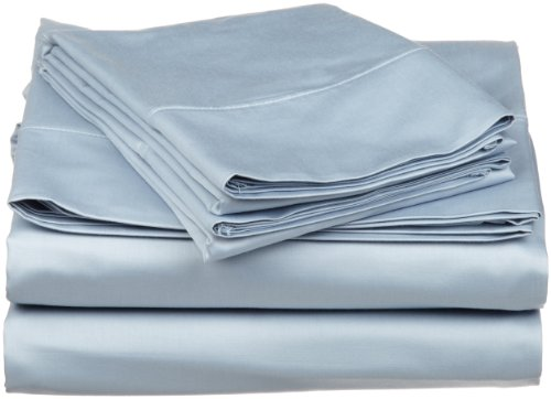 Egyptian Cotton 530 Thread Count Twin Sheet Set Solid, Light Blue back-912809
