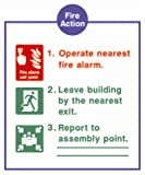 Fire Action notice sign - Operate nearest fire alarm (on 3mm rigid PVC / Size 30 cm x 20 cm)