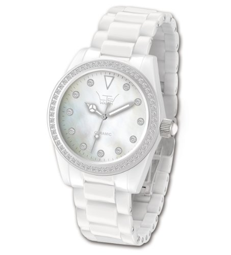 Ltd Ladies White Ceramic Watch 020623 With A Stone Set Bezel And Indexes With White Ceramic Bracelet Limited Edition