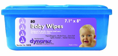 Dynarex Baby Wipes, Lightly Scented, Flat Pack Tubs, 12 Tubs/Cs