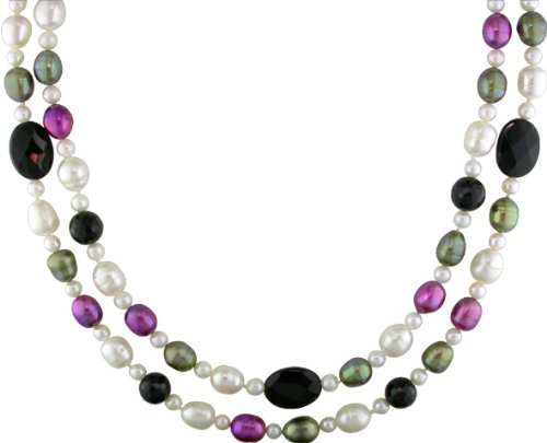 Onyx and Multi-color Freshwater Pearl Necklace