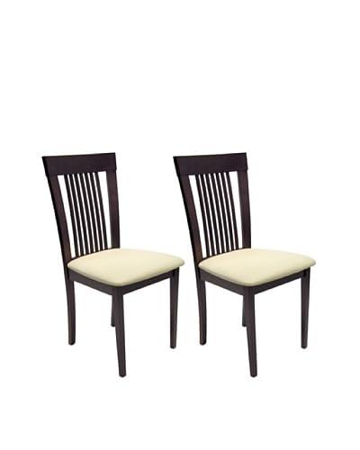 Aeon Set of 2 Hartford Solid Beechwood Dining Chairs, Coffee
