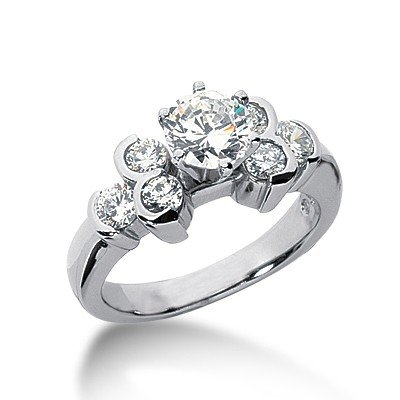 1.25 Ct Diamond Engagement Ring Round Cut Solitaire Bezel Accent Style SI3 H