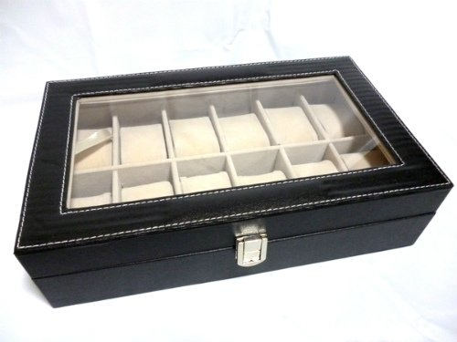 12 Osamu Osamu / black leather-like case watch watch collection (PVC black)