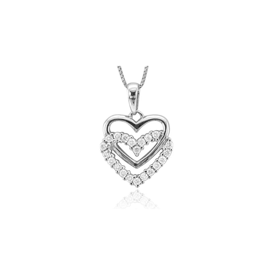 14k White Gold Heart Diamond Pendant Necklace (1/4 Carat)