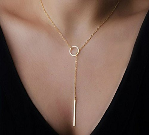 Women's Simple Gold Ring Circle Bar Pendant Shiny Alloy Short Necklace