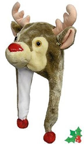 [Christmas Rudolph Reindeer Hat with Poms and Bells] (Bell Boy Hat Costume)