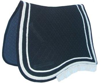Samt-Schabracke schwarz-silbern geschweift Satteldecken