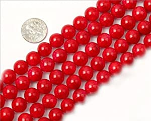 10mm Round Gemstone Red Coral Beads Strand 15 Inch Jewelry Making Beads