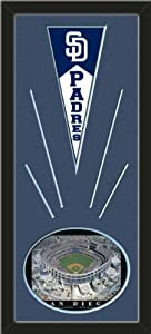 San Diego Padres Wool Felt Mini Pennant & Jack Murphy Stadium Photo - Framed With... by Art and More, Davenport, IA