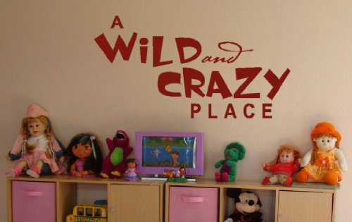 Wall Decor Plus More A Wild And Crazy Place Wall Sticker Saying for Nursery or Kid's Room Decor 44W x 23H - Red Red