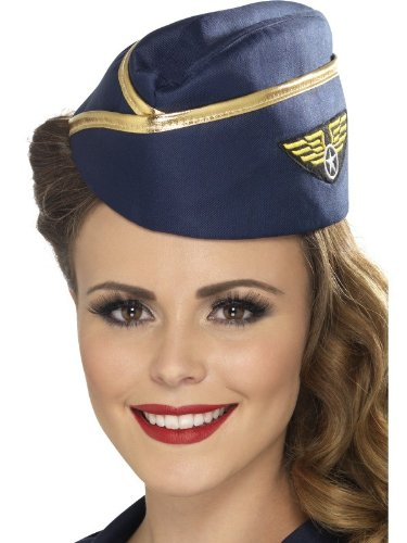 Smiffy's Air Hostess Hat (Blue/ Gold) - 1