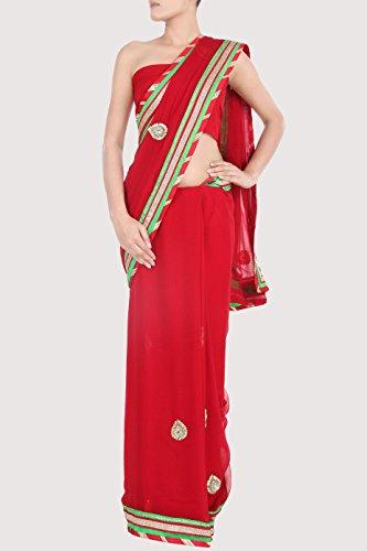 Red KARMIK Brand Red Chiffon Sari (Multicolor)