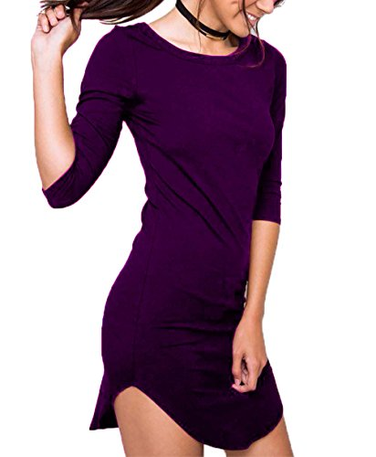 DREAGAL Women's Casual Plain 3/4 Sleeve Simple Tshirt Slim Fit Dress Purple L (Daphne Costume)
