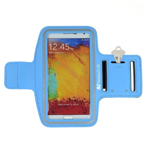 Sumaclife Armband - Sky Blue Sport Workout Neoprene W/ Key & Earphone Holder Fits Htc One M8 Android Phone