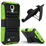 i-Blason Prime Series Dual Layer Holster Case Kick Stand Compatible with Samsung Galaxy S4 SIV S IV i9500 with Locking Belt Swivel Clip Manufactured by i-Blason