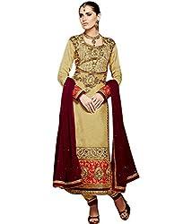 Shelina women Cream satin embroidered salwar suit