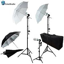 LimoStudio Photography Photo Portrait Studio 600W Triple Continuous Umbrella Lighting Kit - 2 x White Umbrella Lighitng, 1 x Table Top Mini Lighting Kit, AGG1210