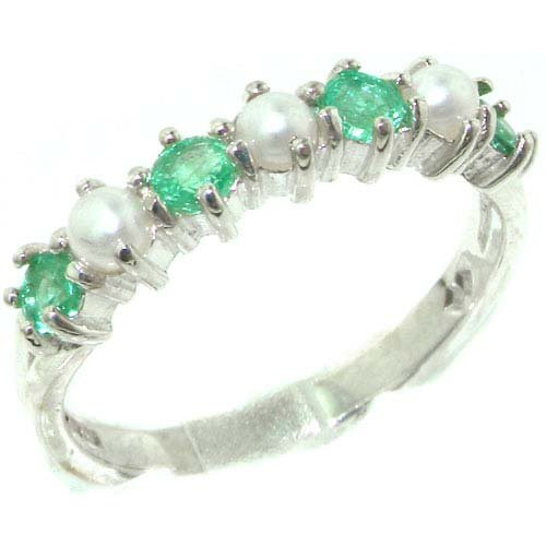 Exquisite Solid English Sterling Silver Natural Emerald & Pearl Ladies Eternity Ring - Size 11.75 - Finger Sizes 4 to 12 Available - Suitable as an Anniversary ring, Engagement ring, Eternity ring, or Promise ring