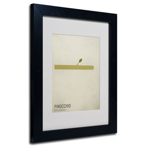 Trademark Fine Art Pinocchio Artwork by Christian Jackson in Black Frame, 11 by 14-Inch (Pinocchio Nose Growing)