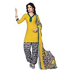 Aagaman Fashion Polyester Unstitched Salwar Suit (TSLCSK5057_Yellow)
